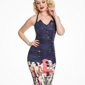 LINDY BOP Millie Venus Cat Print Halter Dress NWT